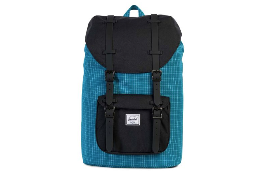 c0506e9704 Buy Herschel Little America Backpack Ocean Depths Grid Black Mid Volume