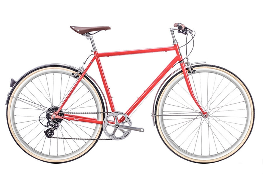6KU Odyssey 8 Speed City Bicycle - Lincoln Red