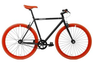 FabricBike Single Speed Bicycle - Matte Black & Red