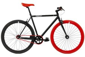 FabricBike Single Speed Bicycle - Matte Black & Red 3.0