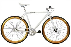 FabricBike Single Speed Bicycle - White & Gold
