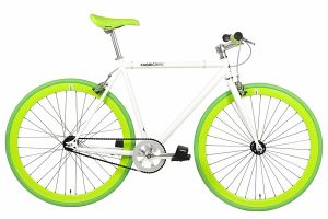 FabricBike Single Speed Bicycle - White & Green