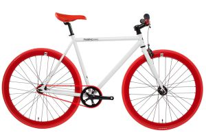 FabricBike Single Speed Bicycle - White & Red