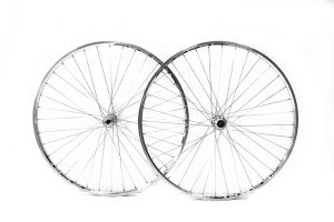 Excel 700c Wheelset - Thread-on Freewheel Quick Release - Polished Silver